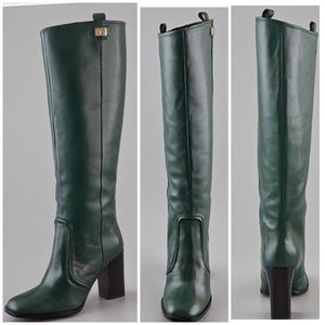 DVF Yoko High Heel Boots Bottle Green